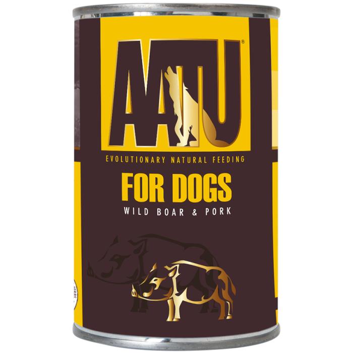 Фото - AATU WILD BOAR&PORK C МЯСОМ ДИКОГО КАБАНА И СВИНИНОЙ консервы для собак 400г