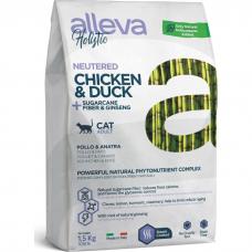 ALLEVA HOLISTIC беззерновой c курицей, уткой и женьшенем для стерилизованных кошек