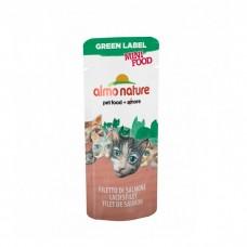ALMO NATURE GREEN LABEL MINI FOOD SALMON FILLET Лакомство для кошек с филе Лосося 99% мяса