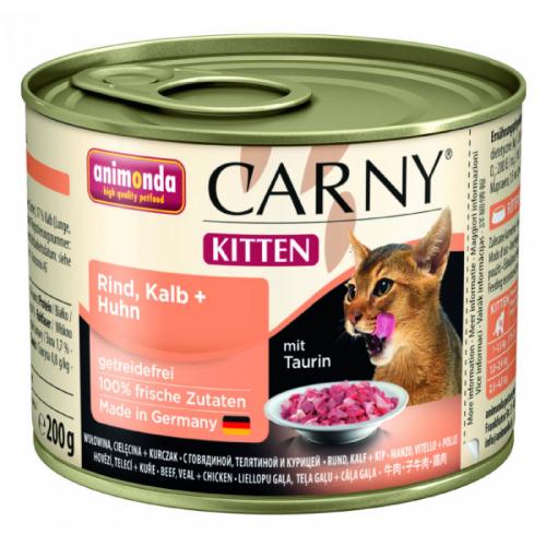 ANIMONDA CARNY KITTEN с говядиной, телятиной и курицей консервы для котят 200г