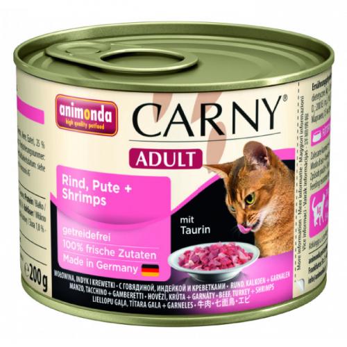 ANIMONDA CARNY ADULT с индейкой и креветками консервы для взрослых кошек