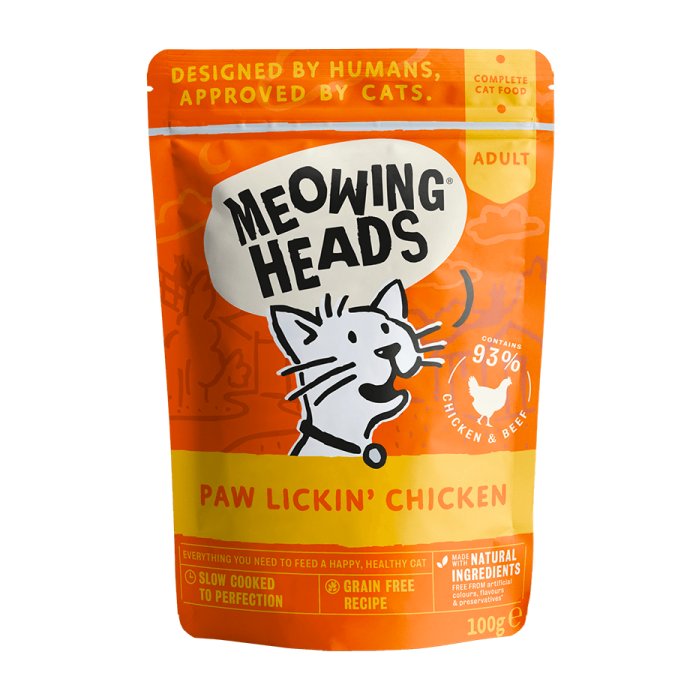 Фото - MEOWING HEADS КУРИНОЕ НАСЛАЖДЕНИЕ с курицей и говядиной для кошек и котят пауч 100г