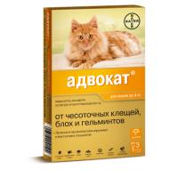 BAYER АДВОКАТ капли от клещей, блох и гельминтов для кошек до 4кг 1пипетка