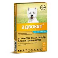 BAYER АДВОКАТ капли от клещей, блох и гельминтов для собак 4-10кг 1пипетка