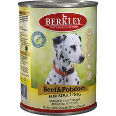 Консервы для взрослых собак BERKLEY ADULT беззерновые с говядиной и картофелем 400г