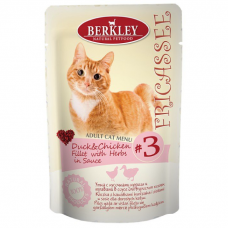 BERKLEY CAT ADULT №3 Утка с кусочками курицы и травами в соусе для кошек пауч 85г