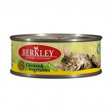 BERKLEY CAT ADULT #8 Консервы с цыпленком и овощами для кошек 100 г