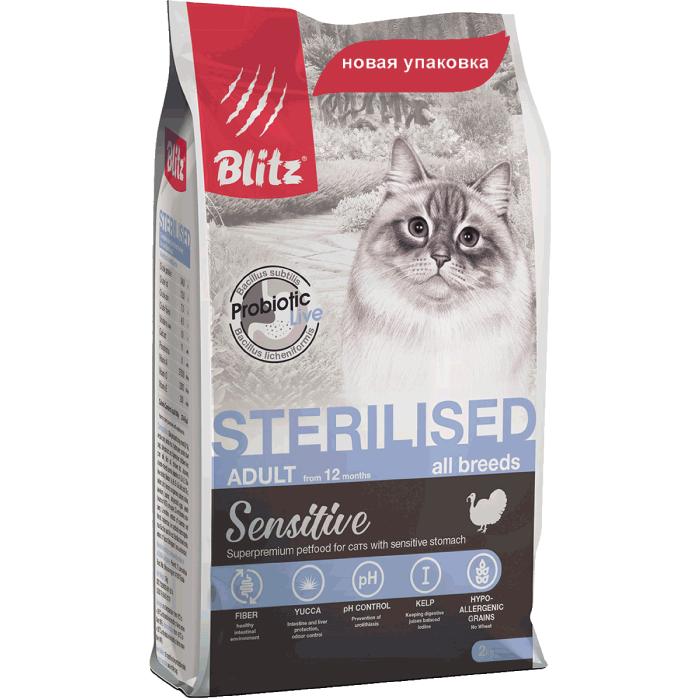 Фото - BLITZ Sterilised с индейкой для стерилизованных кошек