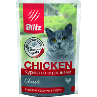 BLITZ КУРИЦА С ИНДЕЙКОЙ кусочки в желе для здоровья кожи и шерсти кошек пауч 85г