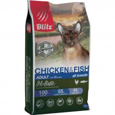 Сухой корм для взрослых кошек BLITZ HOLISTIC с курицей и рыбой 33/15