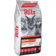 BLITZ Adult Cat Poultry с домашней птицей для взрослых кошек 10кг