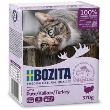 Влажный корм для кошек всех возрастов BOZITA TURKEY беззерновой с рубленой индейкой в желе 370г
