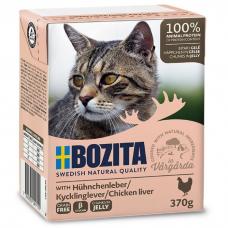 Влажный корм для кошек всех возрастов BOZITA EXTRA CHICKEN беззерновой c куриной печенью в желе 370г