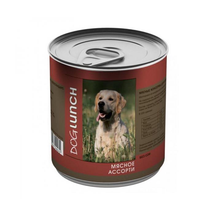 DOG LUNCH МЯСНОЕ АССОРТИ консервы для собак 750г