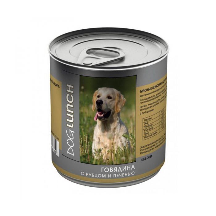 Фото - DOG LUNCH ГОВЯДИНА С РУБЦОМ И ПЕЧЕНЬЮ консервы для собак