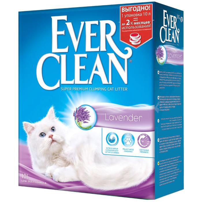 Фото - EVER CLEAN Lavende Лаванда с ароматизатором наполнитель комкующийся 10кг