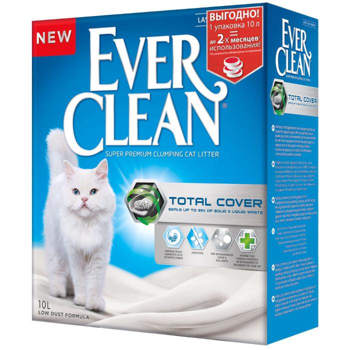 Фото - EVER CLEAN TOTAL COVER без ароматизатора высоким уровнем покрытия наполнитель комкующийся 10л
