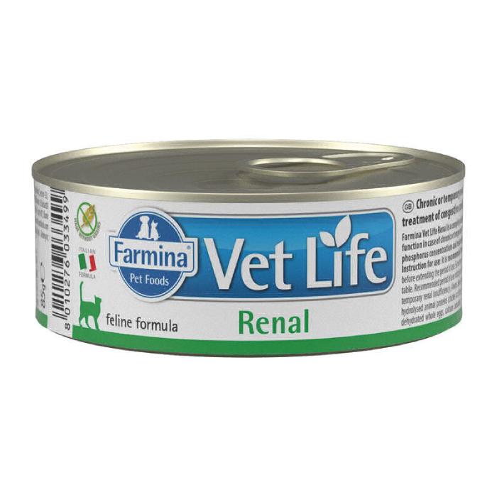Фото - FARMINA WET LIFE RENAL для лечения заболеваний почек у кошек консервы 80г