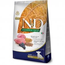 Сухой корм для щенков мини пород FARMINA ANCESTRAL GRAIN низкозерновой с ягнёнком и  черникой