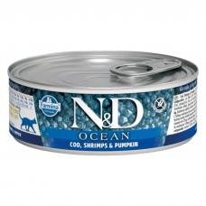 FARMINA N&D CAT OCEAN беззерновые c треской, креветками и тыквой консервы для кошек 80г