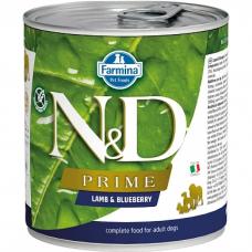 Консервы для взрослых собак всех пород FARMINA N&D DOG PRIME беззерновые с ягненком и черникой 285г