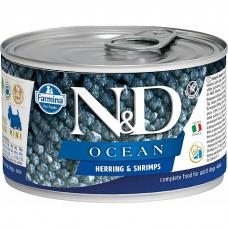 Консервы для взрослых собак мелких пород FARMINA N&D DOG OCEAN беззерновые с сельдью и креветками 140г