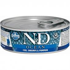 Консервы для котят FARMINA N&D CAT OCEAN беззерновые c треской, креветками и тыквой 80г