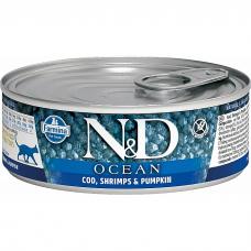 Консервы для взрослых кошек FARMINA N&D CAT OCEAN беззерновые c треской, креветками и тыквой 80г