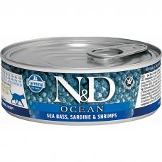 Консервы для взрослых кошек FARMINA N&D CAT OCEAN беззерновые с сибасом, сардинами и креветками 80г