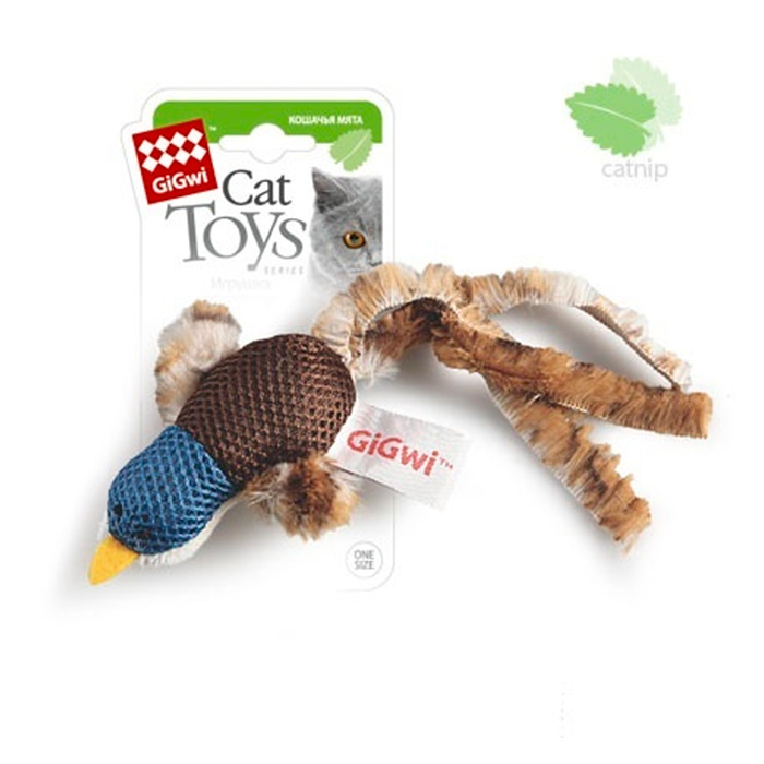 Фото - GIGWI УТКА С КОШАЧЬЕЙ МЯТОЙ текстильная игрушка для кошек