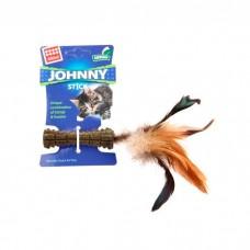 GIGWI JOHNNY STICK КОСТОЧКА ИЗ ПРЕССОВАННОЙ КОШАЧЬЕЙ МЯТЫ с перьями с одной стороны