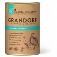 GRANDORF КУРОПАТКА С ИНДЕЙКОЙ беззерновые консервы для взрослых собак 400г