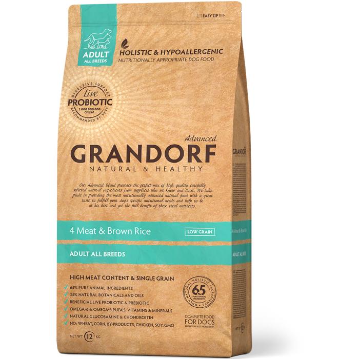 Фото - GRANDORF 4 ВИДА МЯСА низкозерновой с живыми пробиотиками для собак всех пород