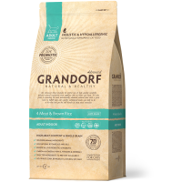 GRANDORF INDOOR 4 ВИДА МЯСА с бурым рисом низкозерновой с живыми пробиотиками для домашних кошек