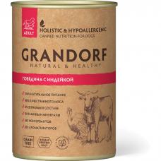 Консервы для взрослых собак GRANDORF ГОВЯДИНА С ИНДЕЙКОЙ беззерновые 400г