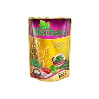 HERBAX Курочка в соусе с морской капустой для кошек пауч 100г