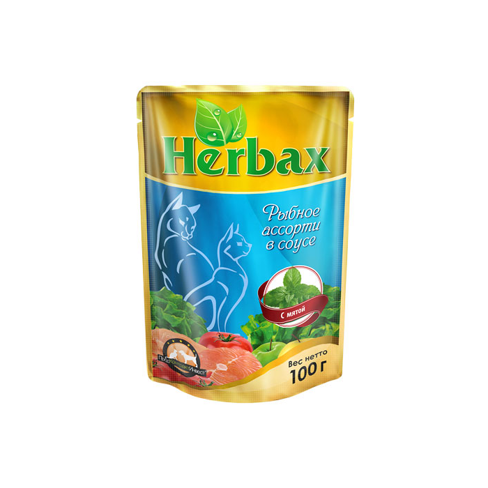 Фото - HERBAX Рыбное ассорти в соусе с мятой для кошек пауч 100г