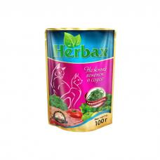 HERBAX Нежный ягненок в соусе с морской капустой для кошек пауч 100г