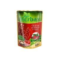 HERBAX Нежная телятина в соусе с листьями брусники для кошек пауч 100г
