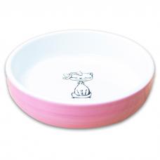 КЕРАМИКАРТ КОШКА С БАНТИКОМ миска керамическая для кошек лиловая 370мл