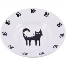 КЕРАМИКАРТ миска-блюдце керамическая для кошек 140мл белая