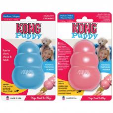 Игрушка для щенков KONG PUPPY M из натуральной резины особо прочная средняя 8.5х5.5см голубая или розовая