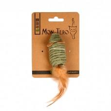 MON TERO ЭКО МЫШЬ С ПЕРЬЯМИ игрушка для кошек с кошачьей мятой зеленая