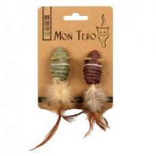 MON TERO МЫШКИ С ХВОСТАМИ ИЗ ПЕРЬЕВ игрушка из натуральных материалов с мятой для кошек