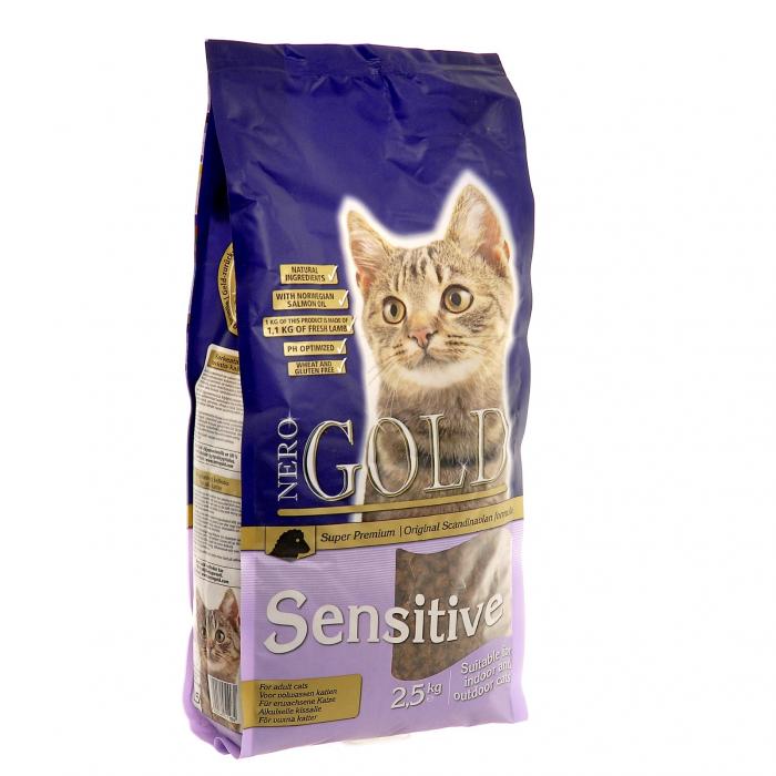 Фото - NERO GOLD SENSITIVE с ягненком для взрослых кошек при чувствительности пищеварения