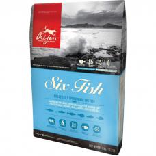 ORIJEN SIX FISH DOG 85.15 гипоаллергенный беззерновой с рыбой для собак и щенков всех пород