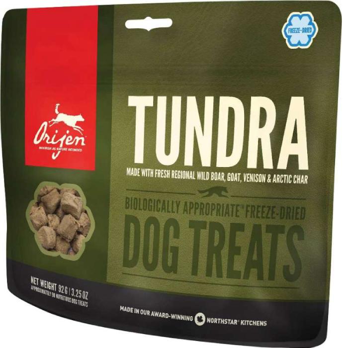 Фото - ORIJEN TUNDRA лакомство с мясом оленя, перепела и радужной форели для собак 92г