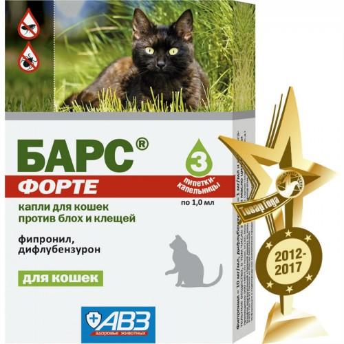 БАРС ФОРТЕ капли для кошек против блох и клещей
