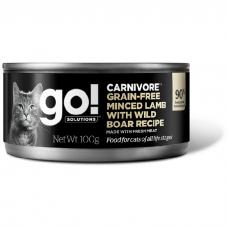 GO! CARNIVORE GF беззерновые с рубленым мясом ягненка и кабана консервы для кошек 100г