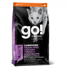 GO! CARNIVORE 4 МЯСА беззерновой с Курицей, Индейкой, Уткой и Лососем для кошек и котят